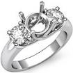 Round Semi Mount Diamond Three 3 Stone Engagement Ring Setting 14k White Gold 0.8Ct - javda.com