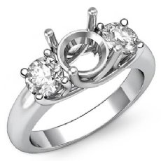 Round Semi Mount Diamond Three 3 Stone Engagement Ring Setting Platinum 950  (0.8Ct. tw.)