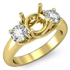 Round Semi Mount Diamond Three 3 Stone Engagement Ring Setting 18k Gold Yellow  (0.8Ct. tw.)