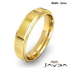 Men's Dome Beveled Edge Wedding Band Solid Ring 5mm 18k Gold Yellow 6.8g 8