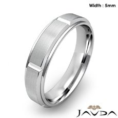 Men's Dome Beveled Edge Wedding Band Solid Ring 5mm 14k White Gold 6.2g 9 size