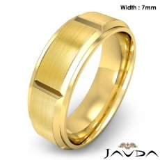 Men's Dome Beveled Edge Wedding Band Solid Ring 7mm 18k Gold Yellow 10.4g 8