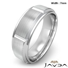 Men's Dome Beveled Edge Wedding Band Solid Ring 7mm 14k White Gold 9.4g 9 size