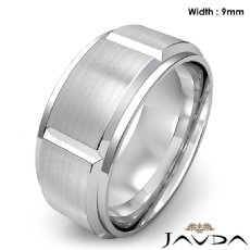 Men's Dome Beveled Edge Wedding Band Solid Ring 9mm 14k White Gold 12.7g 9 size
