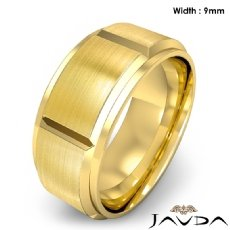 Men's Dome Beveled Edge Wedding Band Solid Ring 9mm 18k Gold Yellow 14.1g 8