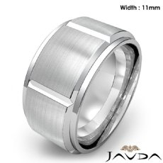 Men's Dome Beveled Edge Wedding Band Solid Ring 11mm 14k White Gold 16.8g 9 size