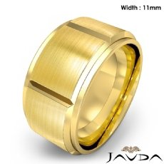 Men's Dome Beveled Edge Wedding Band Solid Ring 11mm 14k Gold Yellow 16.1g 8