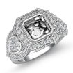 Three Stone Diamond Anniversary Heart Asscher Ring 14k White Gold Halo Setting 1.05Ct - javda.com