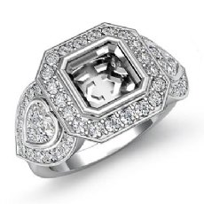 Three Stone Diamond Anniversary Heart Asscher Ring 14 W Gold Halo Setting 1.05Ct