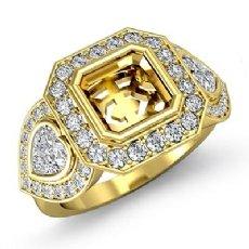 Three Stone Diamond Anniversary Heart Asscher Ring 18k Gold Yellow Halo Setting  (1.05Ct. tw.)