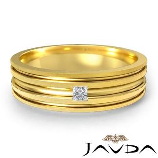 Princess Solitaire Diamond Mens Half Wedding Band Solid Ring 18k Gold Yellow 0.1Ct