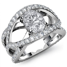 Pave Setting Sidestone Oval diamond engagement Ring in 14k Gold White