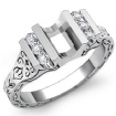 0.2Ct Round Side Diamond Channel Setting Engagement Ring Semi Mount 14k White Gold - javda.com