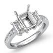 Round Diamond Three 3 Stone Engagement Ring Emerald Semi Mount 14k White Gold 0.85Ct - javda.com