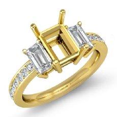 Round Diamond Three 3 Stone Engagement Ring Emerald Semi Mount 18k Gold Yellow  (0.85Ct. tw.)