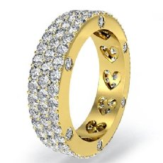 Bezel Pave 3Row Round Diamond Ring Womens Eternity Wedding Band 14k Gold Yellow  (2.4Ct. tw.)