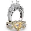 Heart Diamond Engagement Halo 3Stone Ring Set 14k White Gold SemiMount 1.85Ct - javda.com