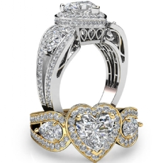 3 Stone Halo Filigree Basket Heart diamond engagement Ring in 14k Gold White