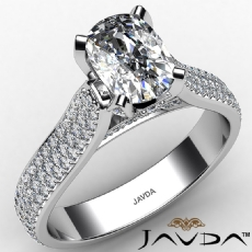 Micro Pave Set 3 Row Shank Cushion diamond engagement Ring in 14k Gold White