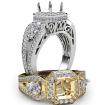 3Stone Asscher Diamond Engagement Halo Ring Set 14k White Gold Semi Mount 1.85Ct - javda.com