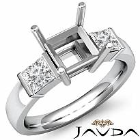 Princess Diamond Three 3 Stone Engagement Ring Bar Setting 14k White Gold 1/2Ct