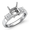 Princess Diamond Three 3 Stone Engagement Ring Bar Setting 14k White Gold 0.6Ct - javda.com