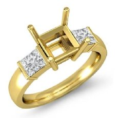 Princess Diamond Three 3 Stone Engagement Ring Bar Setting 18k Gold Yellow  (0.6Ct. tw.)