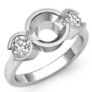 Round Diamond Three 3 Stone Engagement Ring Bezel Semi Mount  14k White Gold 0.6Ct - javda.com