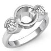 Round Diamond Three 3 Stone Engagement Ring Bezel Semi Mount  14k White Gold 0.6Ct - javda.com