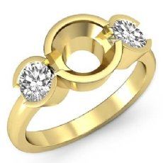 Round Diamond Three 3 Stone Engagement Ring Bezel Semi Mount  18k Gold Yellow  (0.6Ct. tw.)