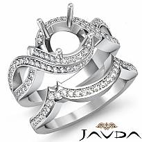 1.5Ct Diamond Bridal Set Engagement Curve Shank Ring Round Semi Mount 14k W Gold