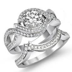 Bypass Style Shank Bridal Set Round diamond engagement Ring in 14k Gold White