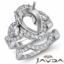 2.3Ct Diamond Engagement 3 Stone Ring Pear Semi Mount Bridal Set 14k White Gold