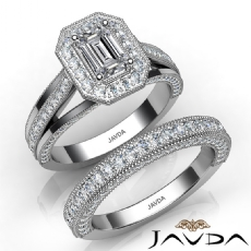 Halo Pave Milgrain Bridal Set Emerald diamond engagement Ring in 14k Gold White