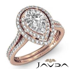 Double Halo Petite Pave Set diamond Ring 14k Rose Gold