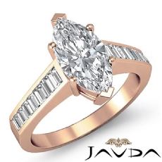 Channel Set Baguette Marquise diamond engagement Ring in 18k Rose Gold