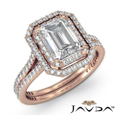 Double Halo Petite Pave Set Emerald diamond  Ring in 14k Rose Gold