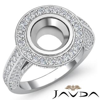 Halo Setting Diamond Engagement Round Bezel Semi Mount
