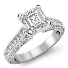 Classic Sidestone 4 Prong Asscher diamond engagement Ring in 14k Gold White