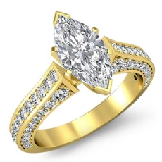 Cathedral 4 Prong Peg Head Marquise diamond  Ring in 14k Gold Yellow