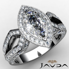 Split Shank Halo Pave Set Marquise diamond engagement Ring in 14k Gold White