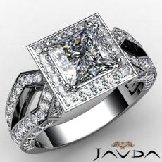 Split Shank Halo Filigree Princess diamond engagement Ring in 14k Gold White