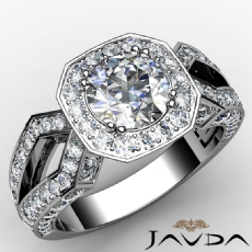 Halo Style Split Shank Pave Round diamond engagement Ring in 14k Gold White