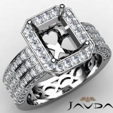 Emerald Semi Mount 3 Row Diamond Engagement Ring 14k White Gold Halo Set 1.38Ct