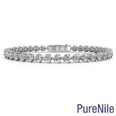 3 Prong Tennis Round Diamond Bracelet 5.2mm width 7.5 Inch Length 14k Gold 12ctw.