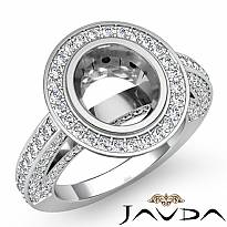 Halo Setting Diamond Vintage Engagement Oval Semi Mount Ring Platinum 950 (2Ct. tw.)