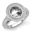 2Ct Halo Setting Diamond Vintage Engagement Oval Semi Mount Ring 14k White Gold - javda.com