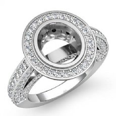 2CT Halo Setting Diamond Vintage Engagement Oval Semi Mount Ring 14K White Gold