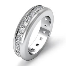 Channel Set Eternity Womens Band Princess Cut Diamond Ring 14k White Gold 2.5Ct