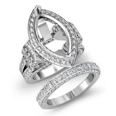 4 Ct Diamond Engagement Ring Marquise Bridal Sets 14K White Gold Halo Setting